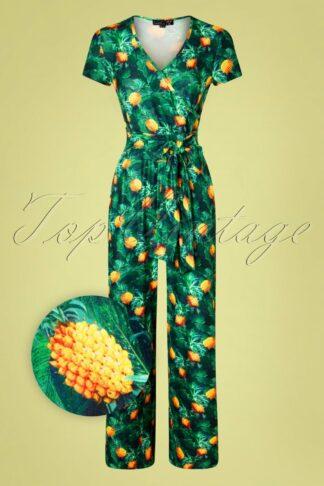 60s Jillian Pineapple Jumpsuit in Green