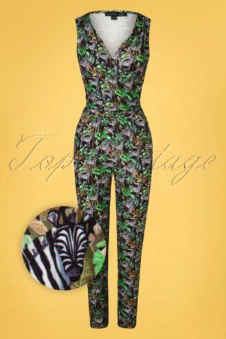 60s Julia Jungle Jumpsuit in Black