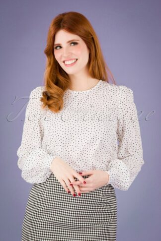 60s Lima Cube Blouse in White