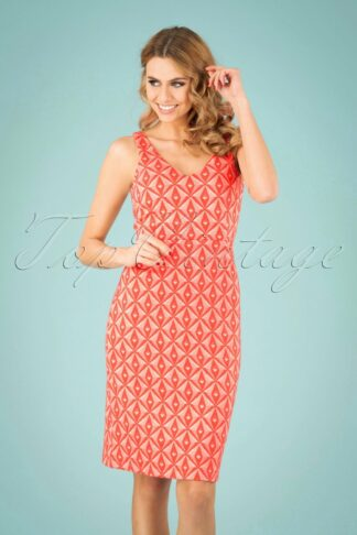 60s Lucia Odette Dress in Peach Pink