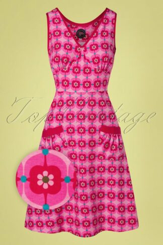 60s Retro Daisy A-Line Dress in Pink