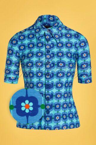 60s Retro Daisy Button Blouse in Blue