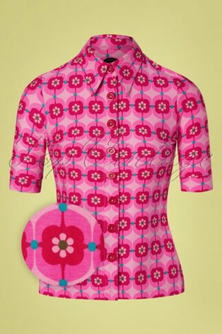 60s Retro Daisy Button Blouse in Pink