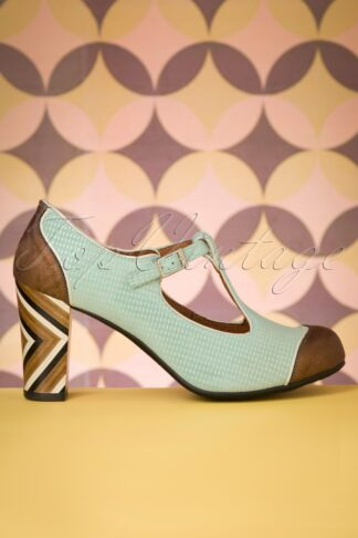 60s Saten Leather T-Strap Pumps in Turquoise