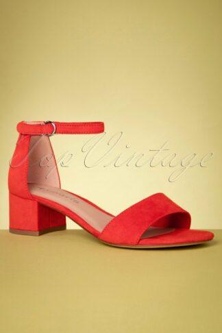 60s Suedine Sandals in Flame