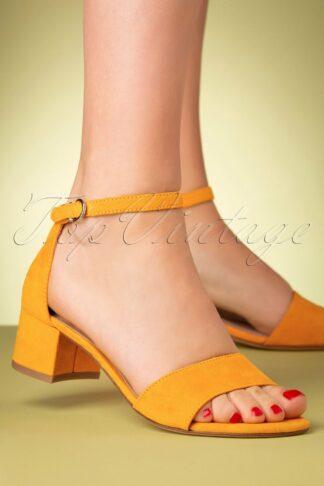 60s Suedine Sandals in Mango
