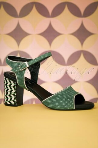 60s Topos Leather Sandals in Green