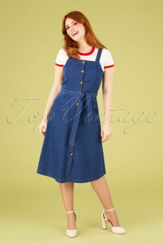 70s Ines Chambray Dress in River Blue