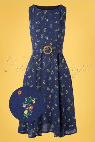 70s Spring Sprig Wrap Back Dress in Blue