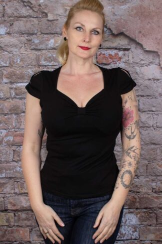 Banned - Sweet Summer Top, schwarz von Rockabilly Rules