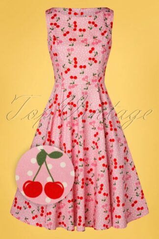 TopVintage exclusive ~ 50s Adriana Cherry Dots Swing Dress in Pink