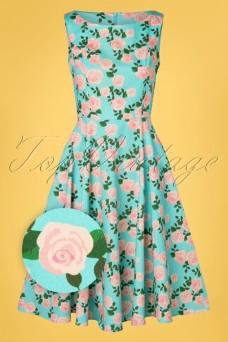 TopVintage exclusive ~ 50s Adriana Roses Swing Dress in Blue