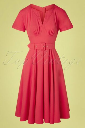 TopVintage exclusive ~ 50s Manine Bo Swing Dress in Coral Pink