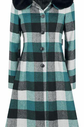 Voodoo Vixen Beatrice Woolly Check Coat Wollmantel multicolor