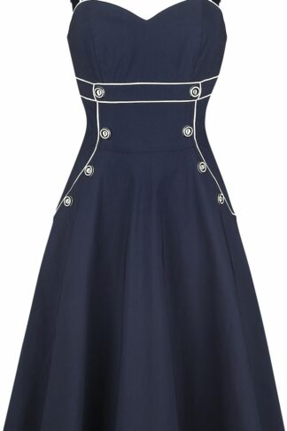 Voodoo Vixen Claudia Nautical Flared Dress Mittellanges Kleid navy