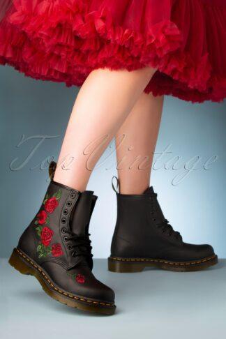 1460 Vonda Softie Red Floral Boots in Black