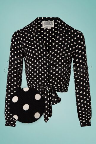 40s Clarice Dots Short Blouse in Black