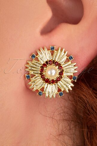 40s Heirloom Swarovski Gold Plated Starburst Earrings