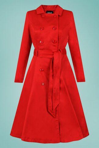 40s Korrina Swing Trench Coat in Red