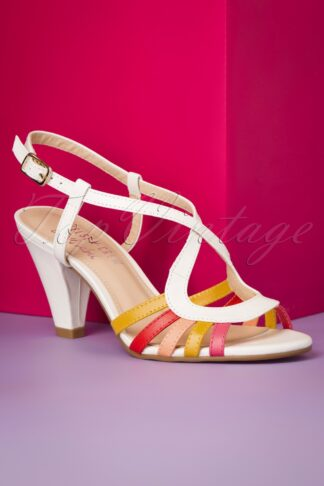 50s Adelle High Heeled Sandals in White