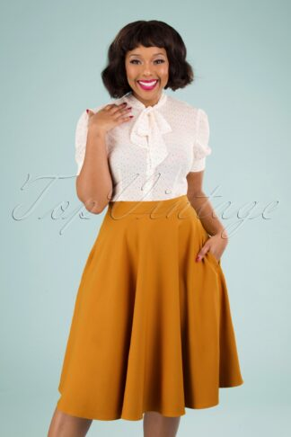 50s Amelie Swing Skirt in Ochre Yellow