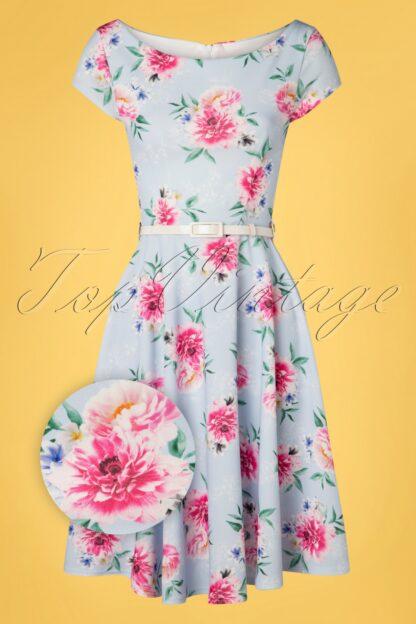 50s Arabella Floral Swing Dress in Light Blue