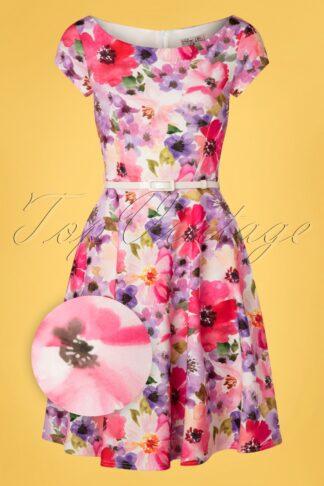 50s Arabella Floral Swing Dress in Pink