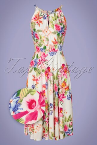 50s Aurorah Floral Swing Dress in Ivory White