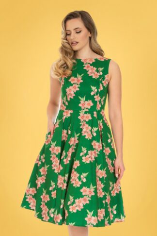 50s Beth Floral Swing Dress in Green and Peach
