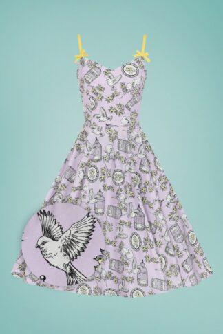 50s Birdcage Swing Dress in Lavender