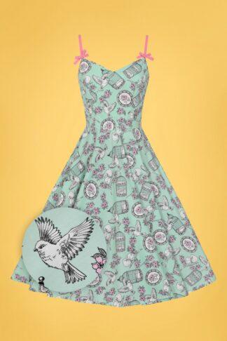 50s Birdcage Swing Dress in Mint