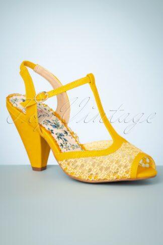 50s Brooklyn T-Strap Peeptoe Sandals in Yellow