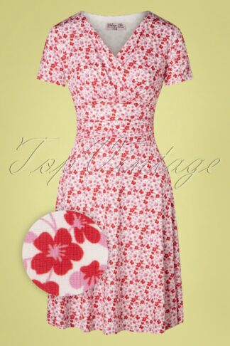 50s Candace Floral Swing Dress in White and Pink