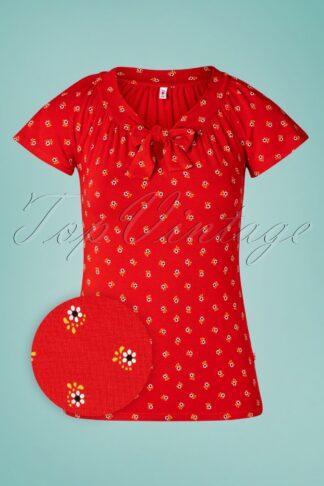 50s Carmelita Top in Bloemen Meisje Red