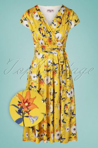 50s Caryl Floral Swing Dress in Yellow