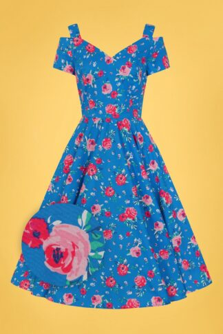 50s Chantilly Floral Swing Dress in Blue