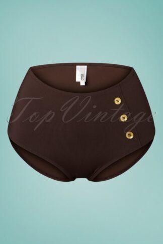 50s Colors of Luxor High Waist Bikini Bottoms in Brown