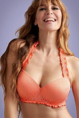 50s Cote d'Azur Balcony Bikini Top in Tangerine and White