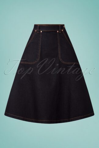 50s Danea Denim Swing Skirt in Dark Blue
