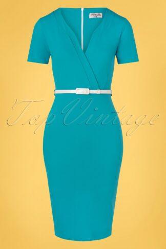 50s Demery Pencil Dress in Mosaic Blue