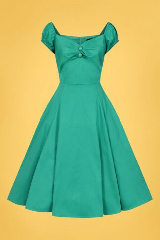 50s Dolores Classic Cotton Doll Swing Dress in Teal