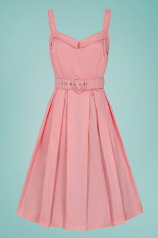 50s Dorothy Plain Swing Dress in Peach