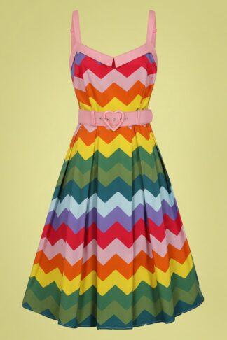 50s Dorothy Rainbow Chevron Swing Dress in Multi