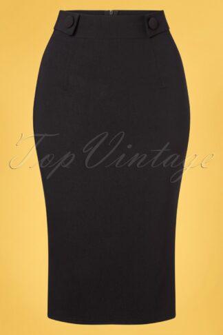 50s Eliza Button Pencil Skirt in Black