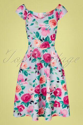 50s Fabienne Floral Swing Dress in Sky Blue