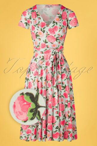50s Faith Floral Swing Dress in Mint