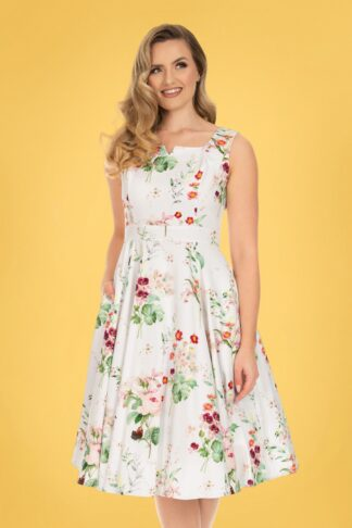 50s Femmy Floral Swing Dress in White