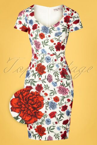 50s Fenny Floral Pencil Dress in White