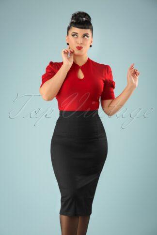 50s Fiona Pencil Skirt in Black