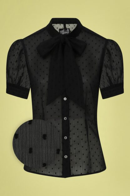 50s Frilly Sundae Blouse in Black